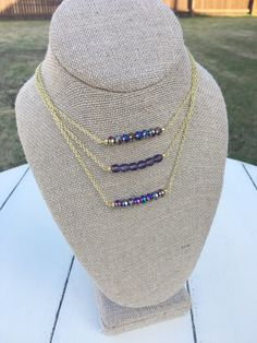Purple bar necklace, gemstone bar necklace, gemstone necklace