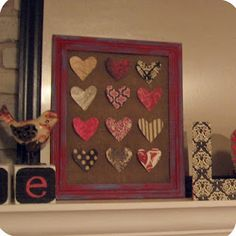 Valentine's Day mantel - easy burlap & craft paper hearts