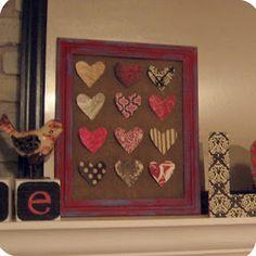 Valentine's Day mantel - easy burlap & craft paper hearts
