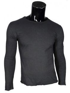 Maglia uomo T-Shirt a Manica Lunga nei colori: grigio scuro, bianco e grigio chiaro