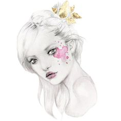 Kelly Smith #watercolor #headtilt #paintsplatter