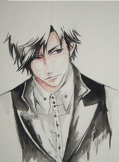 watercolor anime/manga boy