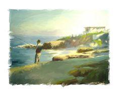 La Jolla fishing-Painting-James Scott fleming