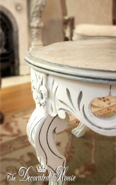 The Decorated House: ~ Annie Sloan Chalk Paint with Silver Leaf Top on Vintage White Coffee Table Makeover - Paint Colors: Old White over Paris Gray. With real Silver Leaf on top of table.