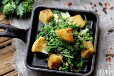 Broccoli Rabe and Yummy Polenta Croutons is a gluten-free, vegan way to get your vites and your carb craving out of the way in the same bite.