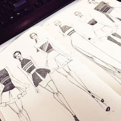 Fashion design sketches by designer @j_miles2009 @fashionary.