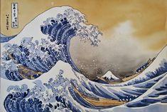 The Great Wave off Kanagawa Reproduction, Original Watercolor 34x50 cm