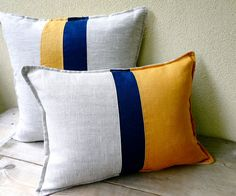 Nautical stripes linen pillow cover 16x16 by OrganicByNature