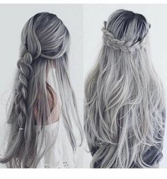 This post contains the best Silver Hair Color Ideas. If you want to dye your hair, you should seriously consider one of this fabulous colors. Quick Braided Hairstyles, Quick Hairstyles For School, Wig Hairstyles, Hairstyle Ideas, Wedding Hairstyles, Trendy Hairstyles, Grey Hair Roots, Gray Hair, Blonde Hair