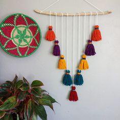 Bohemian Wall Hanging tassels driftwood-MADE by SweetAftonStudios