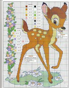 Free Bambi cross stitch pattern (link not in English). Disney Cross Stitch Patterns, Cross Stitch For Kids, Cross Stitch Baby, Cross Stitch Animals, Counted Cross Stitch Patterns, Cross Stitch Charts, Cross Stitch Designs, Cross Stitch Embroidery, Embroidery Patterns