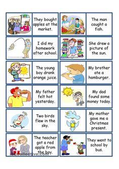 Past Tense Card Game Spanish Lessons, English Lessons, Learn English, Learn Spanish, English Games, English Activities, English Verbs, English Vocabulary, English Language Learning
