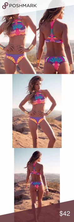 NEW neon tribal pattern bikini set NEW BIKINI SET. Looks as pictured. fits as a size small. Accurate to size sold as a set. All measured in cm. bust 83-88 waist 65-70 Hip 87-93. Cool tribal pattern bright and neon colors. Bright and fun. Unbranded Swim Bikinis