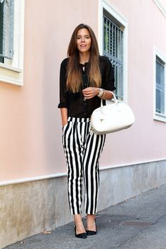 Outfit estate 2013: pantaloni a righe bianche e nere are the new black
