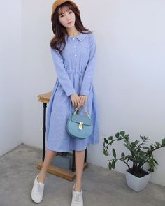 933af0c94968dd US $18.98 30% OFF|Spring Autumn Women Casual Maxi Long Dress Turn Down  Collar Striped Cotton Linen Vintage Vestidos Full Sleeve Blue Femme  Dresses-in ...