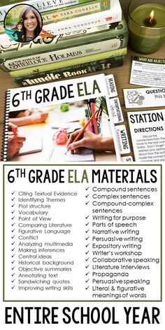 Entire school year of ELA resources for 6th grade | 30+ skills | 35+ activities | reading literature, informational text, writing, speaking & listening, and language activities | middle school ELA | middle school English