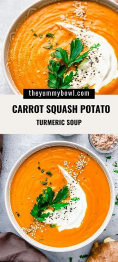 This creamy carrot soup with turmeric and ginger is so warming, full of flavors and has amazing healing properties.  The combination of turmeric, ginger, sweet paprika and vegetables make one easy and delicious soup recipe that is also vegan, gluten-free and dairy free.#pureesoup #turmericsoup #carrotgingerturmericsoup #healingsoup #turmericdetox #turmeric - The Yummy Bowl Easy Delicious Recipes, Healthy Recipes, Healthy Soups, Unique Recipes, Amazing Recipes, Easy Recipes, Healthy Food, Vegetable Soup Recipes, Beef Recipes