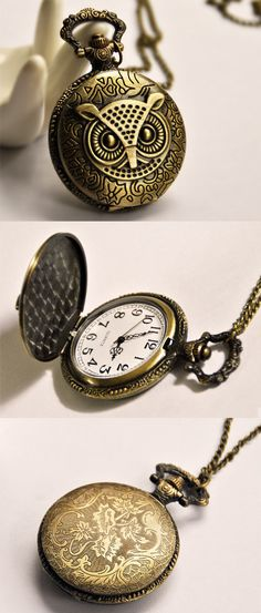 Large Size Pocket Watch with Owl Covers B278 by ministore, $4.90