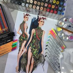 Illustration by Paul Keng | Dress designed by Josie Crowley & Dane Diseth for Bob Mackie 2015