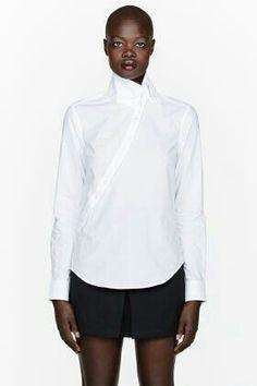 McQ Alexander McQueen White Twisted Cotton Shirt for women Best White Shirt, Crisp White Shirt, White Shirts, White Scrubs, Fashion Silhouette, Mcq Alexander Mcqueen, Black And White Design, I Love Fashion, Fashion Ideas