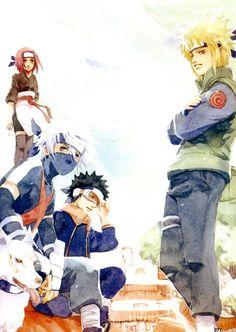 Team Minato: Kakashi, Obito, and Rin. #naruto
