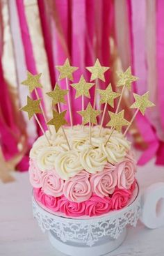 Pink ombré cake with gold glitter stars. Birthday Cupcakes, Birthday Parties, 30th Party, Baby Shower Cupcake Toppers, Shower Cake, Star Cakes, Ombre Cake, Party Decoration, Twinkle Twinkle Little Star