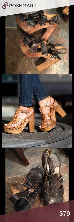 Bed Stu Melissa Platform Sandal Cobbler Series. Black Leather Lux Driftwood. Size 8. Handcrafted in Mexico Bed Stu Shoes