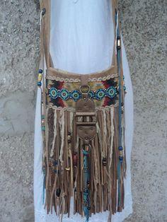 Handmade Tan Suede Boho Fringe Bag Tribal Western Hippie Cross Body Purse tmyers #Handmade #MessengerCrossBody