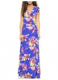 multicolor floral print wrap maxi dress