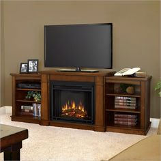 Real Flame Hawthorne Electric Fireplace TV Stand in Burnished Oak.