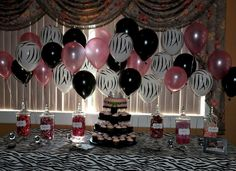 Pink and Zebra Baby shower use marker to make the zebra stripes on the white balloons lol