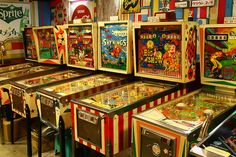 These arcades gave way to darkened rooms with digital games.....but loved to play pinball when I was a kid. Grandpa even had one, the Merry Widow.