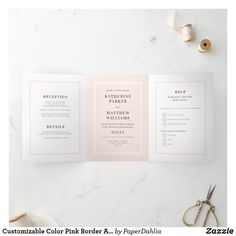 Shop Customizable Color Pink Border All-In-One Wedding Tri-Fold Invitation created by PaperDahlia. Chic Wedding, Elegant Wedding, Wedding Details, Modern Wedding Invitations, Wedding Invitation Design, Wedding Borders, Letter Folding, Paper Dahlia, Tri Fold