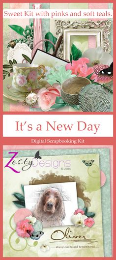 A sweet digital scrapbooking mini kit with a homely feel - plenty for scrapbooking your everyday photos - built around a palette of pink and soft teal.