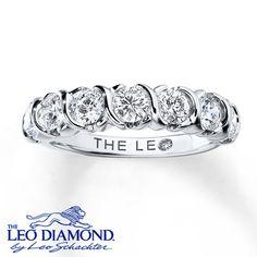 Leo Diamond Anniversary Ring 1 ct tw Round-cut 14K White Gold
