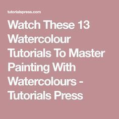 watercolor art Watch These 13 Watercolour Tutorials To Master Painting With Watercolours - Tutorials Press Watercolor Paintings For Beginners, Watercolor Video, Watercolor Projects, Watercolour Tutorials, Watercolor Techniques, Art Techniques, Painting Tutorials, Watercolor Artists, Watercolor Pencil Art
