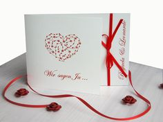 """Einladungskarten - Einladungskarte Hochzeit """"Herzen fl."""" - ein Designerstück von moments bei DaWanda"""