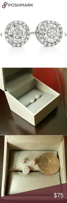 Genuine Natural Diamond Sterling Silver Earring CHRISTMAS SALE, LAST PAIR, Price Firm  Gorgeous pair of Genuine Diamond Stud Earrings!  1/10 CTTW Natural Diamonds Brand new with box Sterling Silver earrings, even the backs 925 stamped  SHIPS ON SAME DAY  # Zales, Jared, Nordstrom, Macys, Kay Jewelers, Jewelry Earrings