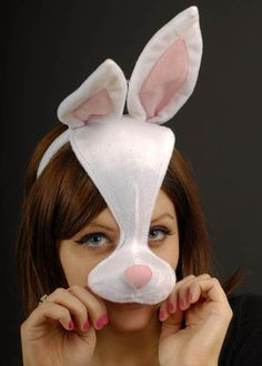 White Bunny Rabbit Mask On Headband