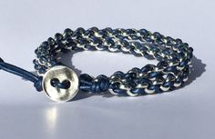 Woven Chain and Leather Bracelet Kit  Metallic Blue by TBeadsGlass