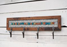 Mosaic Coat Rack Entryway Coat Hooks Wall Coat by PhoenixHandcraft
