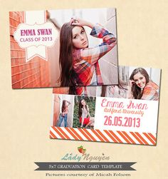 INSTANT DOWNLOAD 5x7 Graduation announcement card by LadyNguyen