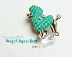 Fancy Poodle in Turquoise -  Nurse/Professionals/Conventions - Badge Holder Lanyard Clip BB1574