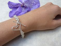 Silver Chainmaille Bracelet --Mobius Weave with Handcrafted Heart Clasp handmade by Linkouture in MA