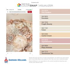 I found these colors with ColorSnap® Visualizer for iPhone by Sherwin-Williams: Pink Shadow (SW 0070), Porcelain (SW 0053), Fragile Beauty (SW 7553), Futon (SW 7101), Cachet Cream (SW 6365), Appleblossom (SW 0076), Playa Arenosa (SW 9094), Townhouse Tan (SW 7712).