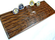Military Challenge Coin Display with 2 by Kincaidwoodworking