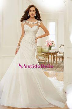 2016 cucharada sirena vestidos de novia de tafetán con volantes y apliques US$ 259.99 VTOPQ7LDE5J - VestidoBello.com for mobile