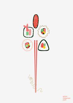 sushi by Eirian Chapman :) unyu ih gambarnya.. cc: @alvikamuis