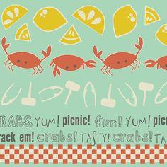 Crabtastic  Picnic in Aqua by Maude Asbury for by PinkDoorFabrics, $9.00