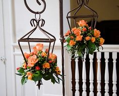 Hanging lantern floral arrangements